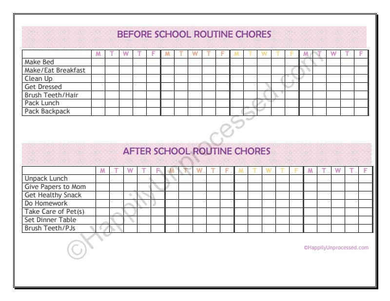 before and after school routine chore charts